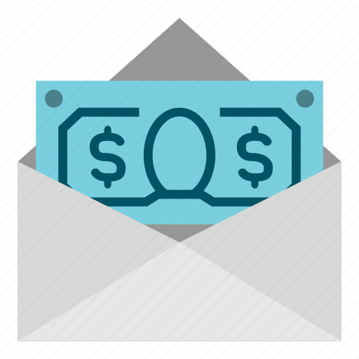 business, dollar, envelope, finance, money, payment icon
