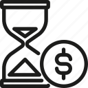 business, coin, finance, hourglass, investment, money, time icon