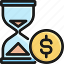 coin, currency, finance, hourglass, investment, money, time icon