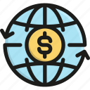 banking, business, dollar, money, payment, transfer, world icon