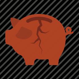 bankrupt, broken, destitution, extravagant, penury, piggy bank, uneconomical icon