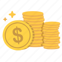 cash, coins, earn, enrich, funds, money, values icon