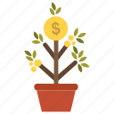 earn, enrich, gold, growth, money, profit, tree icon