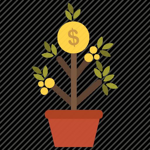 earn, enrich, gold, growth, money, profit, tree icon