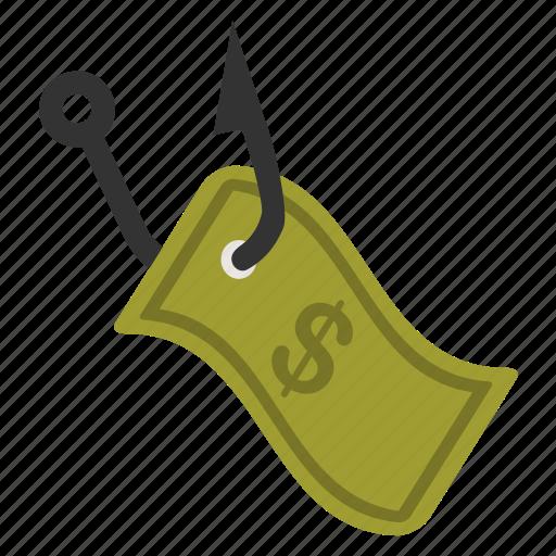 bank, cash, hook, money, motivate, phising, trap icon