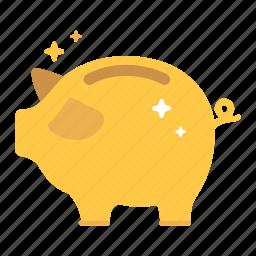 budget, financial, gold, golden, millionaire, money, piggy bank icon