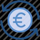 arrows, cash, coin, currency, euro, financial, money