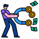 magnet, attract, wealth, power, profit, money, cash icon
