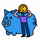 bank, cash, coin, currency, investment, money, piggybank icon