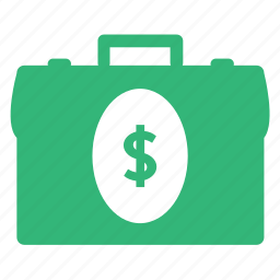 business, cash, dollar, finance, money, shopping, suitcase icon