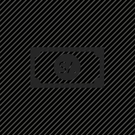 money, payment, peru sol icon