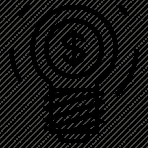 bulb, business, dollar icon