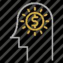 brain, head, idea, investment, money icon