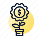 coins, flower, growing, investment, wealth icon