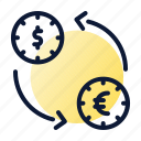 coins, exchange, transaction icon