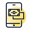 banknote, payment, smartphone, transaction icon