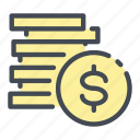 coin, dollar, gold, income, money, stack icon