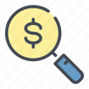 bill, coin, dollar, magnifier, money, payment, search