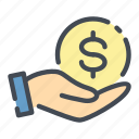 care, coin, dollar, hand, hold, money icon