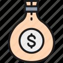 bag, banking, cash, coin, finance, money, sack