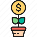 coin, exchange, finance, financial, invest, money, tree icon