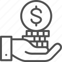bank, coin, finance, hand, money, pile, save icon