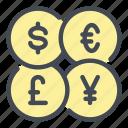 money, currency, euro, dollar, yen, pound, exchange icon