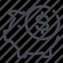 bank, coin, dollar, money, pig, piggy, savings icon