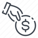 dollar, donate, hand, money, pay, payment icon