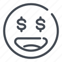 dollar, emoji, eyes, happy, money, smile icon