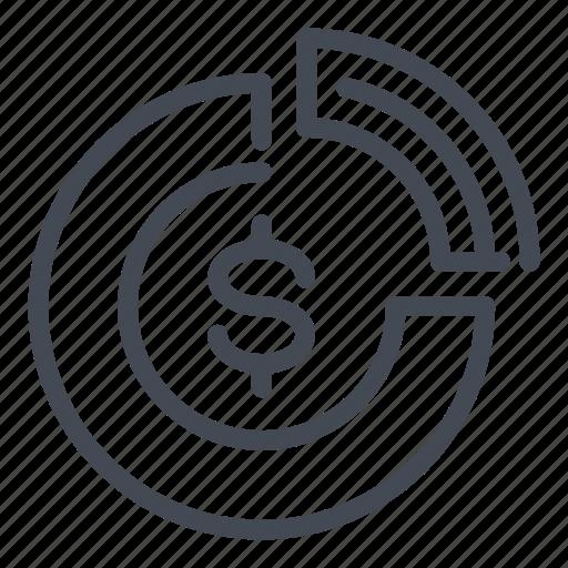 analytics, chart, dollar, finance, money, report, stats icon