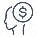 dollar, employee, head, mind, money, person icon