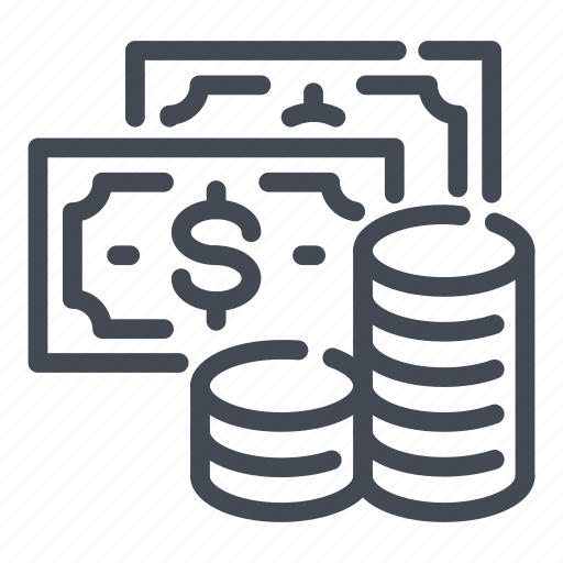 coin, dollar, income, money, savings, stack icon
