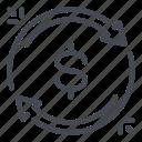 change, dollar, exchange, money, refresh, update icon
