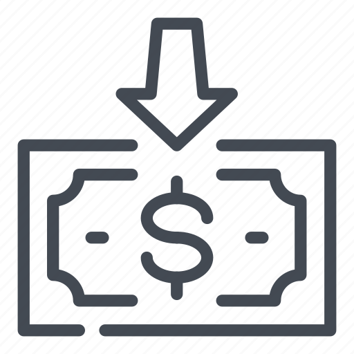 arrow, dollar, down, income, money, receive icon