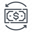 change, dollar, exchange, money, note, refresh, update icon