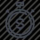 dollar, money, stopwatch, timer icon