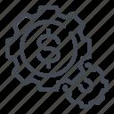 dollar, gear, money, options, salary, settings icon