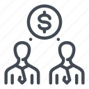 finance, money, person, salary, talk, wage icon