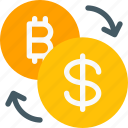 bitcoin, buy, conversion, dollar, money, sell, trade icon