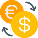 arrows, conversion, dollar, euro, exchange, forex, money icon