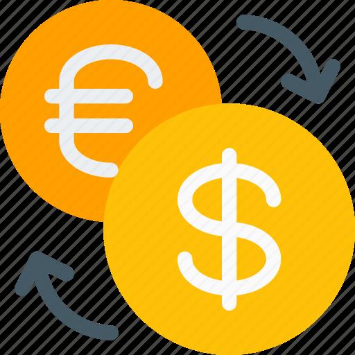 arrows, conversion, dollar, euro, exchange, forex, money icon