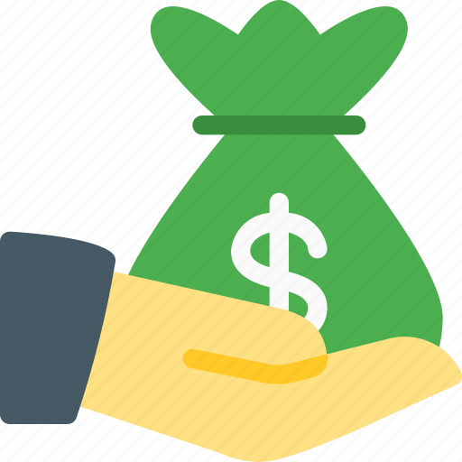 deposit, finance, fund, hand, loan, money, share icon