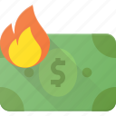 burn, inflation, low, money, value icon