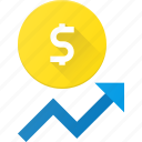 coins, currency, dollar, finance, increase, money, stock icon