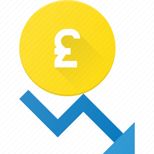 coins, currency, decrease, finance, money, pound, stock icon