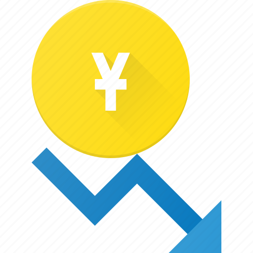 Coins, currency, decrease, finance, money, stock, yen icon - Download on Iconfinder