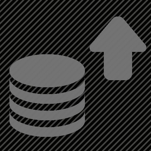 arrow, coin, increase, savings, stack, up icon