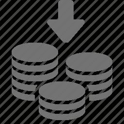 arrow, coin, decrease, down, money, savings, stacks icon