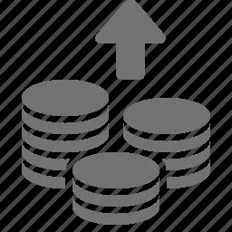 arrow, coin, increase, money, savings, stacks, up icon